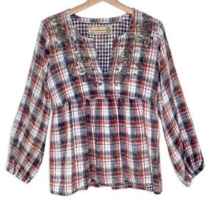 Anthropologie Artisan De Luxe Boho Red Flannel Top